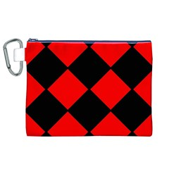 Red Black square Pattern Canvas Cosmetic Bag (XL)