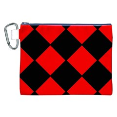 Red Black square Pattern Canvas Cosmetic Bag (XXL)