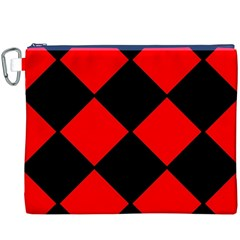 Red Black Square Pattern Canvas Cosmetic Bag (xxxl)