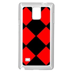 Red Black Square Pattern Samsung Galaxy Note 4 Case (white)