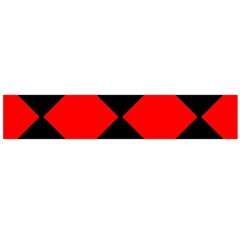 Red Black square Pattern Flano Scarf (Large)