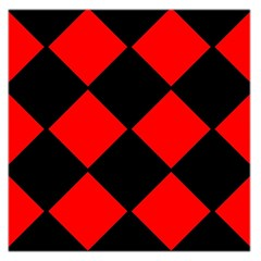 Red Black Square Pattern Large Satin Scarf (square)