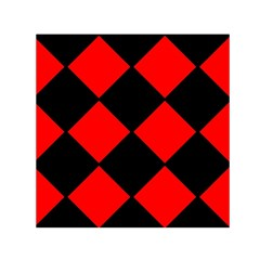 Red Black square Pattern Small Satin Scarf (Square)