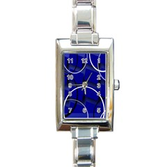 Blue Abstract Pattern Rings Abstract Rectangle Italian Charm Watch
