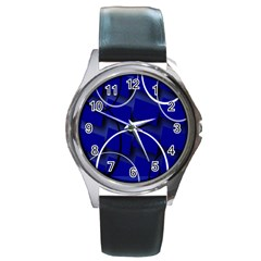 Blue Abstract Pattern Rings Abstract Round Metal Watch