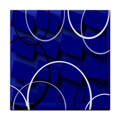 Blue Abstract Pattern Rings Abstract Tile Coasters