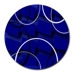 Blue Abstract Pattern Rings Abstract Round Mousepads