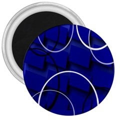 Blue Abstract Pattern Rings Abstract 3  Magnets