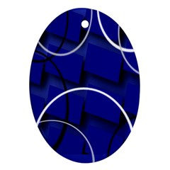 Blue Abstract Pattern Rings Abstract Ornament (Oval)