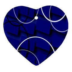 Blue Abstract Pattern Rings Abstract Ornament (Heart)
