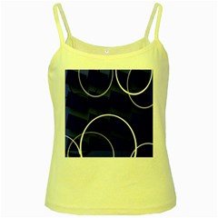 Blue Abstract Pattern Rings Abstract Yellow Spaghetti Tank