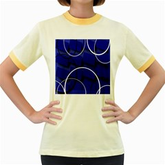 Blue Abstract Pattern Rings Abstract Women s Fitted Ringer T Shirts