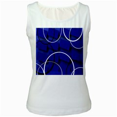Blue Abstract Pattern Rings Abstract Women s White Tank Top