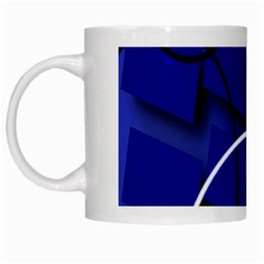 Blue Abstract Pattern Rings Abstract White Mugs