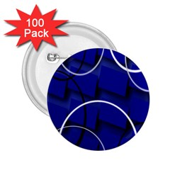Blue Abstract Pattern Rings Abstract 2 25  Buttons (100 Pack)