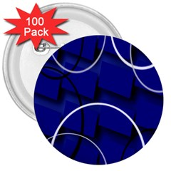 Blue Abstract Pattern Rings Abstract 3  Buttons (100 Pack)