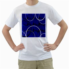 Blue Abstract Pattern Rings Abstract Men s T-Shirt (White) (Two Sided)