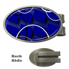 Blue Abstract Pattern Rings Abstract Money Clips (oval)