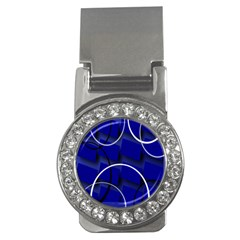 Blue Abstract Pattern Rings Abstract Money Clips (CZ)
