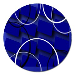 Blue Abstract Pattern Rings Abstract Magnet 5  (Round)