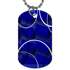 Blue Abstract Pattern Rings Abstract Dog Tag (One Side)