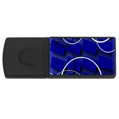 Blue Abstract Pattern Rings Abstract USB Flash Drive Rectangular (2 GB)