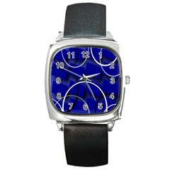 Blue Abstract Pattern Rings Abstract Square Metal Watch