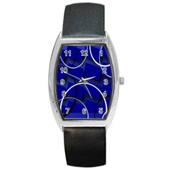 Blue Abstract Pattern Rings Abstract Barrel Style Metal Watch