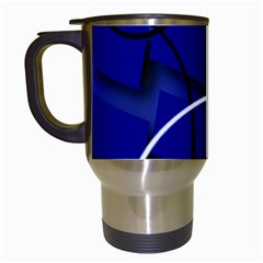 Blue Abstract Pattern Rings Abstract Travel Mugs (white)