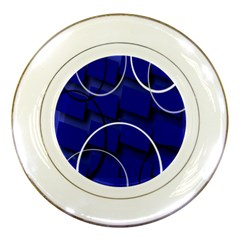 Blue Abstract Pattern Rings Abstract Porcelain Plates