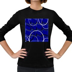 Blue Abstract Pattern Rings Abstract Women s Long Sleeve Dark T-Shirts
