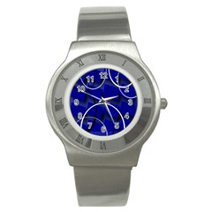 Blue Abstract Pattern Rings Abstract Stainless Steel Watch