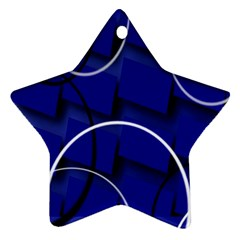 Blue Abstract Pattern Rings Abstract Star Ornament (two Sides)