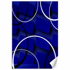 Blue Abstract Pattern Rings Abstract Canvas 12  x 18