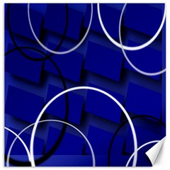 Blue Abstract Pattern Rings Abstract Canvas 16  X 16