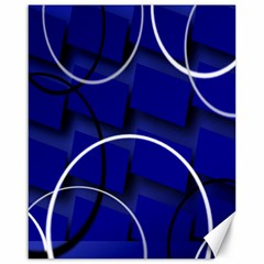 Blue Abstract Pattern Rings Abstract Canvas 16  X 20