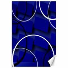 Blue Abstract Pattern Rings Abstract Canvas 24  x 36