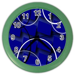 Blue Abstract Pattern Rings Abstract Color Wall Clocks