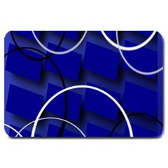 Blue Abstract Pattern Rings Abstract Large Doormat