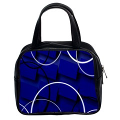 Blue Abstract Pattern Rings Abstract Classic Handbags (2 Sides)