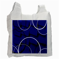 Blue Abstract Pattern Rings Abstract Recycle Bag (one Side)