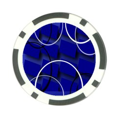 Blue Abstract Pattern Rings Abstract Poker Chip Card Guard (10 pack)