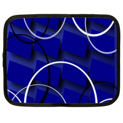Blue Abstract Pattern Rings Abstract Netbook Case (XL)