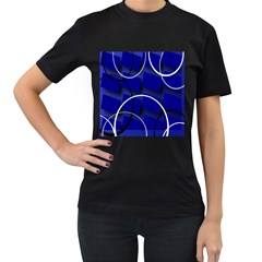 Blue Abstract Pattern Rings Abstract Women s T Shirt (black)