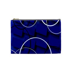 Blue Abstract Pattern Rings Abstract Cosmetic Bag (medium)