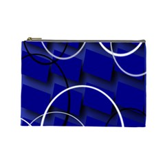 Blue Abstract Pattern Rings Abstract Cosmetic Bag (Large)