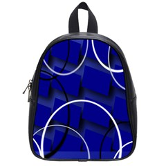 Blue Abstract Pattern Rings Abstract School Bags (small)