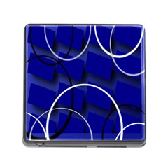Blue Abstract Pattern Rings Abstract Memory Card Reader (Square)