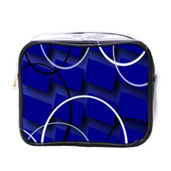 Blue Abstract Pattern Rings Abstract Mini Toiletries Bags