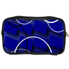 Blue Abstract Pattern Rings Abstract Toiletries Bags 2-Side